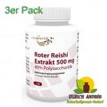 3er Pack Premium Roter Reishi Extrakt 500mg 40% Polysaccharide 300 Kapseln