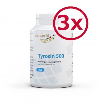 3er Pack L-Tyrosin 500mg 360 Kapseln