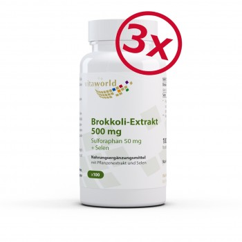 Pack di 3 Estratto di broccoli 500mg - da germogli di broccoli dose elevata con 50 mg di sulforaphane per capsula