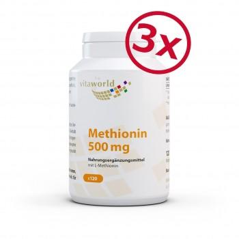 Pack di 3 Metionina 500 mg 3 x 120 Capsule Vegetariano/Vegano