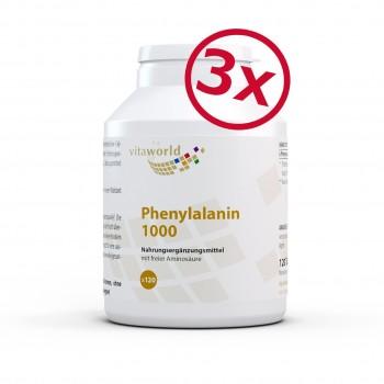 Pack di 3 L-fenilalanina 1000mg 120 compresse - vegan ad alte dosi e privo di stearato di magnesio