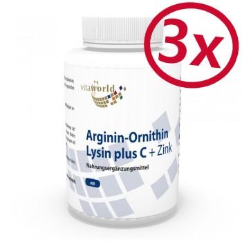 Pack di 3 Arginina-Ornitina-Lisina + Vitamina C & Zinco 180 Capsule