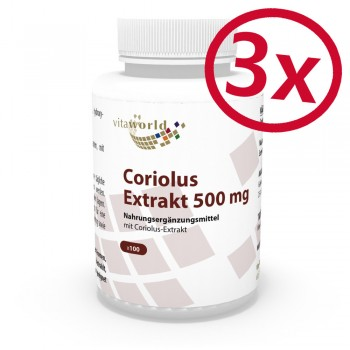 3er Pack Coriolus Extrakt 500mg 300 Kapseln