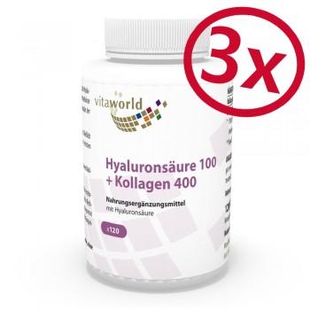 Pack di 3 Acido ialuronico 100mg + Collagene 400mg 3 x 120 Capsule