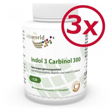 Pack di 3 Indolo 3 Carbinol 300mg 3 x 120 Capsule con Complesso Curcumina C3 ed estratto di pepe nero 50:1 Vegetariano/Vegano