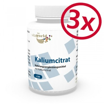 3er Pack Kaliumcitrat 605 mg 3 x 120 Kapseln Vegetarisch/Vegan