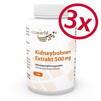 Pack di 3Estratto di Fagiolo Nano 500 mg 3 x 120 Capsule Vegetariano/Vegano