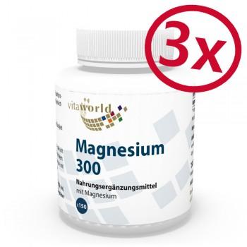 3 Pack Magnesium 300mg 3 x 150 Tablets Vegetarian/Vegan