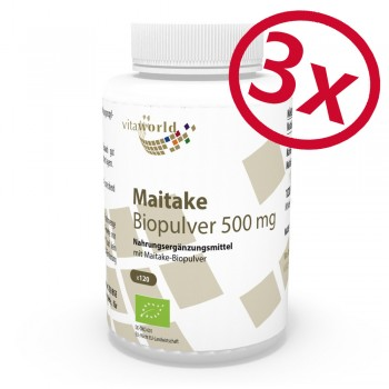 Pack di 3 Polvere Organica Maitake 500 mg 3 x 120 Capsule Vegetariano/Vegano