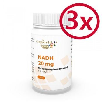 3 Pack NADH 20mg 180 Capsules