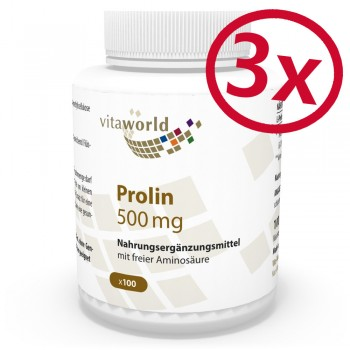 Pack di 3 Prolina 500mg 300 Capsule