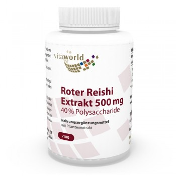Premium Roter Reishi Extrakt 500mg 40% Polysaccharide 100 Kapseln