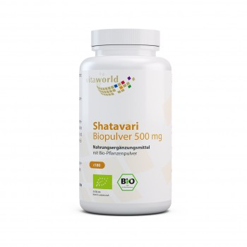 Shatavari 500 mg Orgánico Espárragos Indios 180 Cápsulas Vegano / Vegetariano