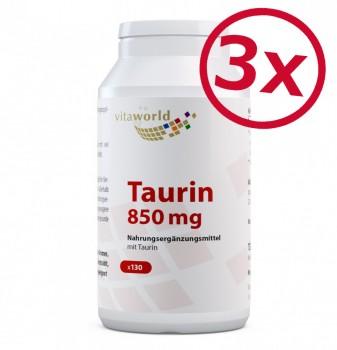 3er Pack Taurin 850mg 3 x 130 Kapseln Vegan/Vegetarisch