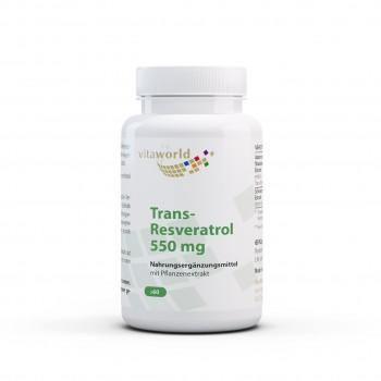 Trans-Resveratrol 550 mg Naturel d'Extrait de Renouée du Japon 60 Capsules Vegan / Végétarien
