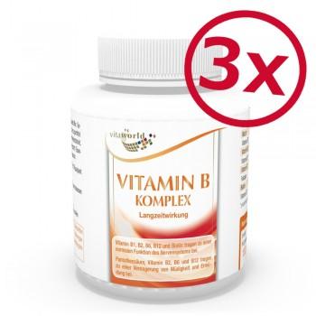 3er Pack Vitamin B Komplex Langzeitwirkung 360 Kapseln