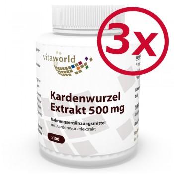 3er Pack Kardenwurzel-Extrakt 500mg 300 Vegi Kapseln