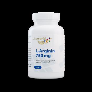 L-Arginin 750mg 100 Kapseln Vegan/Vegetarisch