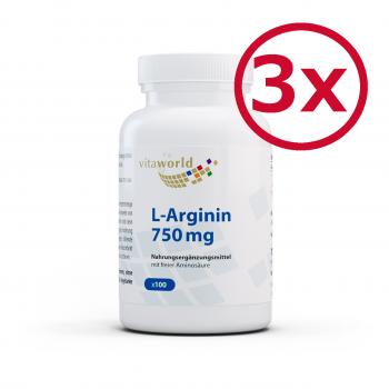3er Pack L-Arginin 750mg 300 Vegetarische Kapseln