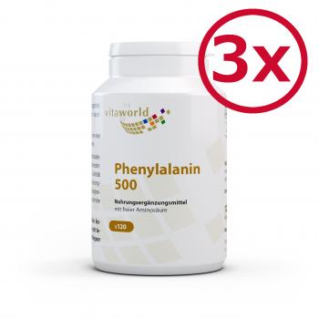 3er Pack Phenylalanin 500mg 360 Vegi Kapseln