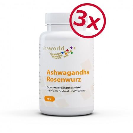 3er Pack Ashwagandha Rosenwurz Komplex 3 x 60 Kapseln VEGAN/VEGETARISCH