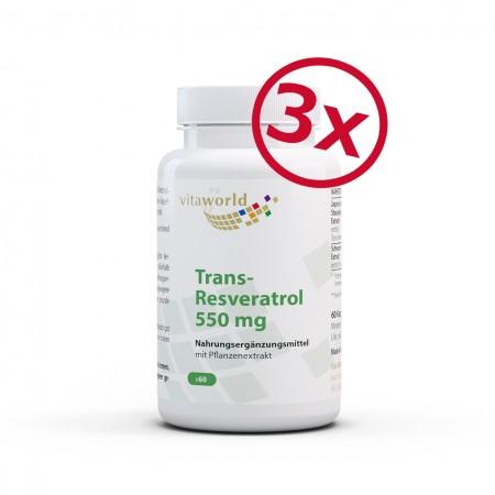 3er Pack Trans-Resveratrol 550 mg Aus Japanischem Staudenknöterich Extrakt 3 x 60 Kapseln Vegan/Vegetarisch