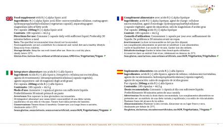 Pack de 3 Ácido R (+) Alfa-Lipoico 200 mg 3 x 100 Cápsulas Vegano/Vegetariano