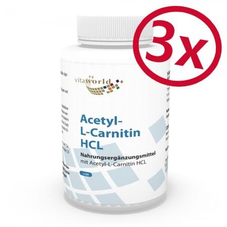 Pack di  3 Acetil Carnitina HCL 1000mg  per capsula 3 x 120 capsule elevata biodisponibilità