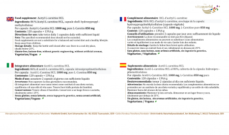 Acetil-L-Carnitina 120 Cápsulas Vegano/Vegetariano