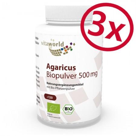 Pack di 3 Agaricus Biologica Polvere 500 mg 3 x 120 Capsule Vegano/Vegetariano