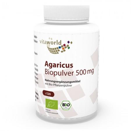 Agaricus Polvo Orgánico 500 mg 120 Cápsulas Vegano/Vegetariano