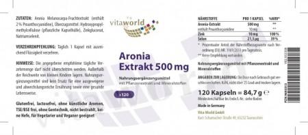 Aronia berry extract 500mg + Zinc & Selenium 120 Capsules