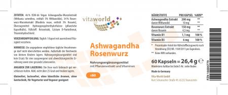 Ashwagandha Complejo de Raíz de Rosa 60 Cápsulas VEGANO / VEGETARIANO
