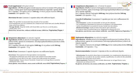 Extracto de Astrágalo Raíz de Tragacanto 500 mg 120 Cápsulas Vegano/Vegetariano