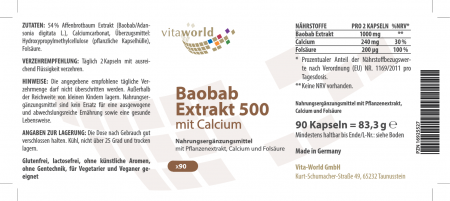 Baobab Extrakt 500 Mit Calcium und Folsäure 90 Kapseln Vegan/Vegetarisch