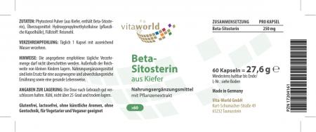 Beta-Sitosterin 60 Kapseln Hochdosiert aus Kiefer, Phytosterole Vegetarisch/Vegan