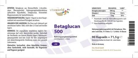 3er Pack Betaglucan 500mg 3 x 90 Kapseln Vegan/Vegetarisch