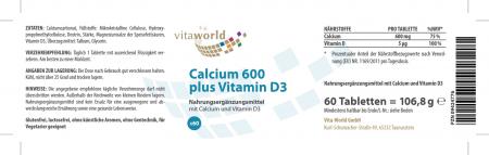 Calcium 600mg + Vitamin D 60 Tabletten Vegetarisch