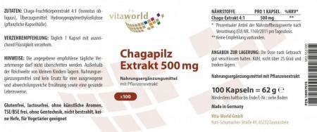 Chagapilz Extrakt 4:1 500mg 100 Vegi Kapseln
