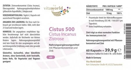 Naturalrabatt 6+1 Cistus 500 Cistus Incanus Zistrose 7 x 60 Kapseln
