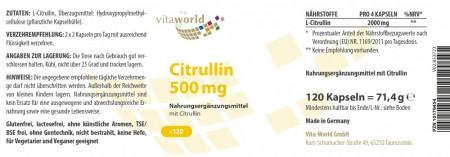 Pack di 3 Citrullina 500mg 360 Capsule