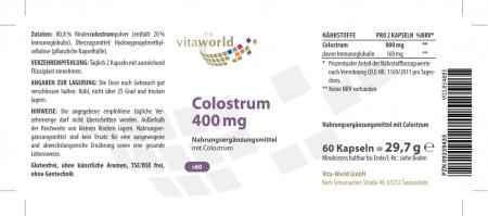 Colostrum 400 mg 60 Capsules