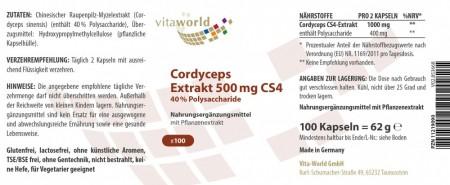 Remise Naturelle 6 + 1 Extrait de Cordyceps CS4 500 mg 40% Polysaccharides 7 x 100 Capsules