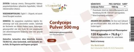 3er Pack Cordyceps Pulver 500mg 360 Kapseln