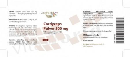 Cordyceps sinensis Pulver 500mg 120 Kapseln