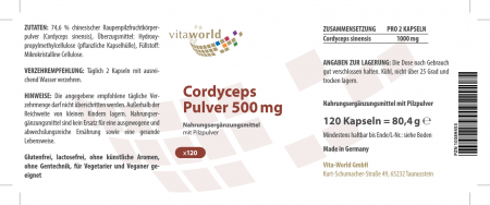 Cordyceps en Polvo 500 mg 120 Cápsulas Hongo Oruga Vegano/Vegetariano