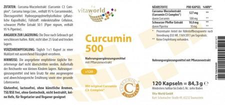 3er Pack Curcumin 500mg 3 x 120 Vegi Kapseln Kurkuma Curcuma C3 Complex Piperin