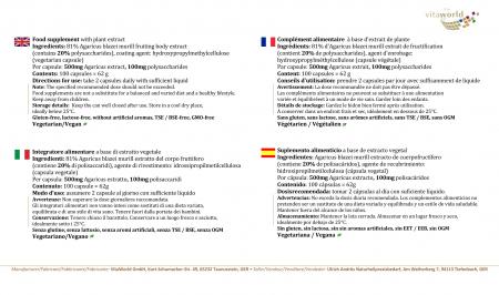 Agaricus blazei Murrill Extrakt 500mg 100 Kapseln Vegan/Vegetarisch