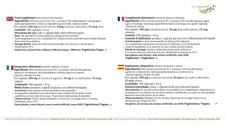 3 er Pack Brokkoli Extrakt 500mg Aus Brokkolisprossen-Hochdosiert mit 50mg Sulforaphan pro Kapsel 3 x 100 Kapseln Vegan/Vegetarisch