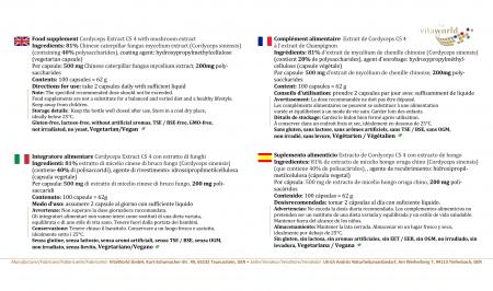 Premium Cordyceps Extrakt 500mg CS4 40% Polysaccharide 100 Kapseln